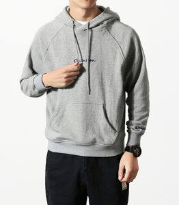 Premium Quality Plain Grey Men Pullover Hoody with Embroidered pictures & photos