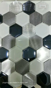 Hexagon Glass Mosaic with Metal Jy36k pictures & photos