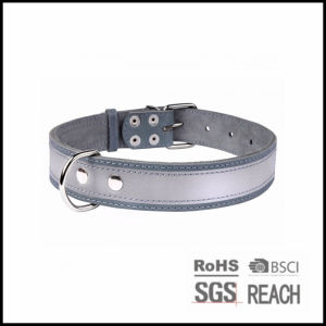 Reflective Safety PU Real Leather Pet Dog Puppy Collars pictures & photos