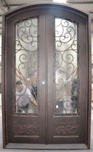 Hot Sale Wrought Iron Double Entry Door pictures & photos
