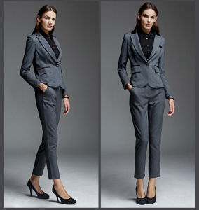 Newest Design Grey Lady Wool Formal Office Pant Suits