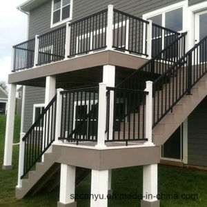 Stairs Galvanized Paintedl Welding Railings Black with Stainless Steel Handrail pictures & photos