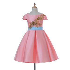 Pink Satin Flower Girl Dress for Wedding and Ceremonial pictures & photos