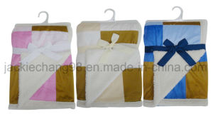 Patchwork Printed Micro Mink and Sherpa Blanket for Baby pictures & photos