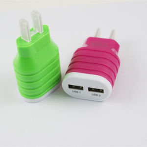 ABS Dual USB Mobile Phone Wall Charger for Smartphone pictures & photos