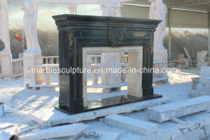 Hand Carved Black with Golden Color Marble Fireplace (SY-MF305) pictures & photos