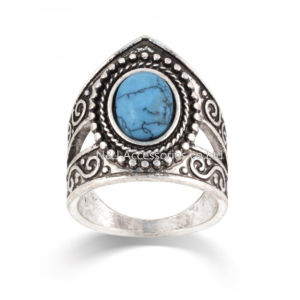 Tibetan Silver Inlay Synthetic Turquoise Stone Ring Nepal Original Antiqued Ring Wholesale Tibet Rings pictures & photos