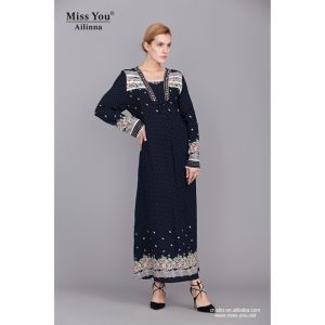 Miss You Ailinna 360526 Women Casual One Piece Black Floral Maxi Dress pictures & photos