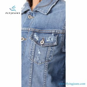 Vintage Unlined Women Boyfriend Jackets with  Shredded Holes and Worn Spots pictures & photos