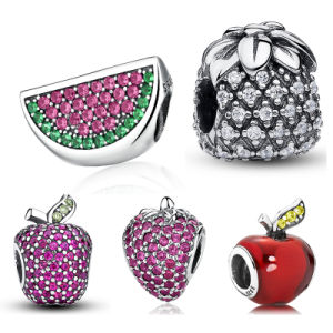 Fruit Charm Strawberry Watermelon Red Apple Pineapple Pave Crystal CZ 925 Sterling Silver Charm Fit Bracelet Jewelry Making pictures & photos