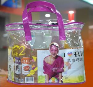 Custom PVC Transparent Bags, Thick Plastic Gift Hand-Held Bags pictures & photos