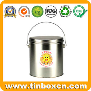 Round Tin Pail with Handle for Chocolate Biscuit, Tin Bucket pictures & photos