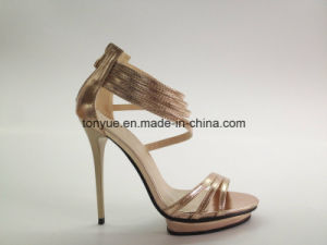 Lady Leather High Heel Crystal Decroration with Platform pictures & photos
