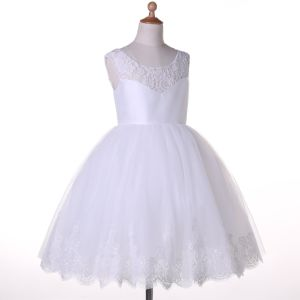 Puffy Satin Tulle Flower Girl Dress pictures & photos
