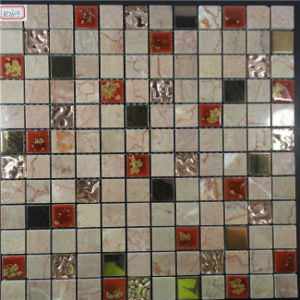 Brow Color Square Shape Stainless Mixed Stone Mosaic for Interior Wall pictures & photos