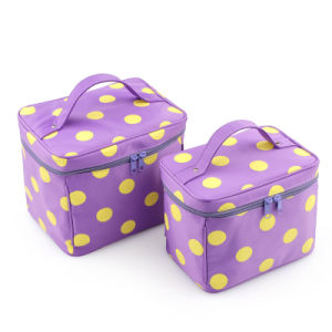 DOT Print Zipper Around Charm Wash Bags with Multi Compartments
