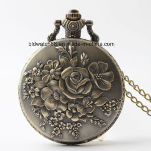 Analog Quartz Lady Pocket Watch with Flower pictures & photos