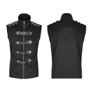 Stylish Black Cowboy Jackets High Collar Sleeveless Waistcoats (Y-741) pictures & photos