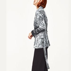 Fashion Women Leisure Velvet Bandage Suit Clothes Blouse pictures & photos