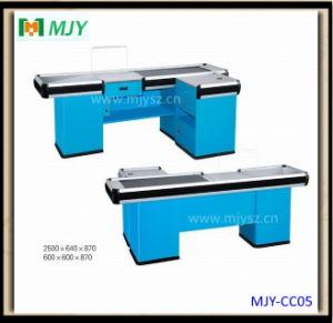 Supermarket Cash Desk with Conveyor Belt Mjy-Cc05 pictures & photos
