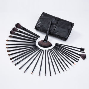 Black Wood Handle Natual Hair Brushes 32PCS Makeup Brushes Sets Factory pictures & photos