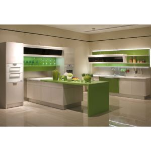 Customized Design Green and White High Gloss Lacquer Kitchen Cabinets pictures & photos