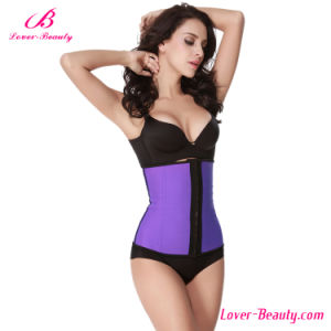 Classic Hot Firm Control Purple Latex Waist Training Corset pictures & photos
