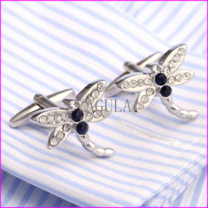 Silver Plated Blue Rhinestone Drogonfly Men′s Cufflink pictures & photos