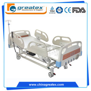 ICU Bed with Five Function Electric Motor and Manual Crank System Operated Bed pictures & photos