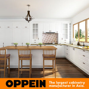 Oppein White L Shaped Kitchen Cabinets with Island OP17-PVC02 pictures & photos