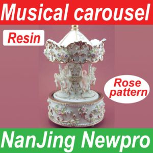 New Classic Merry-Go-Round Music Box With Carved Rose Pattern, Carousel Craft, 18-Note Musical Movement