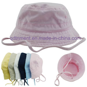 Cotton Twill Neck Strap Infant Women Leisure Bucket Hat (CSCBH9416) pictures & photos