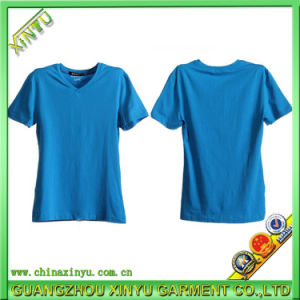 Wholesale 100%Cotton Blank V-Neck Men T Shirt pictures & photos