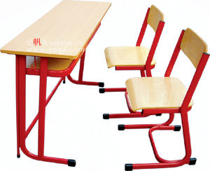 School Furniture Supplier Wholesale Double School Desk and Chair (GT-50) pictures & photos