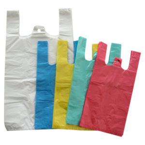 Plastic HDPE Striped T-Shirt Bags (BDT08)