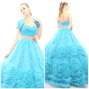 2012 Magnificent Sexy Sweetheart A-Line Sheath Jacket Ruffle Sash Tulle Satin Quinceanera Dresses (QD-036)