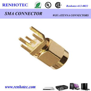Gold Plated SMA PCB Mount Straight HDMI Crimp Connector pictures & photos