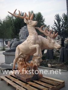 Carved Marble Deer Sculpture for Garden Decoration pictures & photos