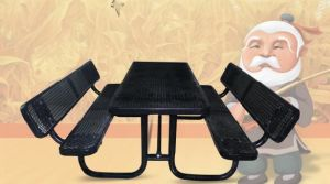 """96"""" Rectangular Steel Picnic Table Top & Bench Top with Back Rest"""