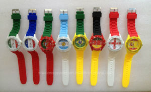 Flag Design Silicone Wrist Band Watch for Kids pictures & photos
