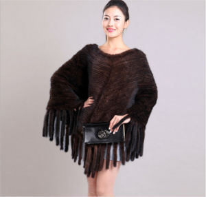 2015 Russia Winter Kintted Mink Fur Shawl pictures & photos