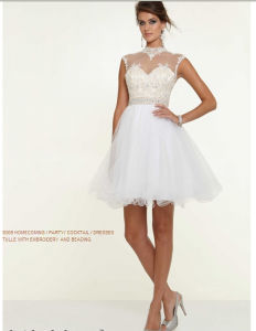 White Homecoming Embroidery Party Cocktail Prom Dresses (PD9309) pictures & photos