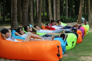 Outdoor Inflatable Sleep Bag Fast Open Lazy Sleeping Bed Air Hangout Camping Beach Sofa Portable Outdoor Lounger pictures & photos
