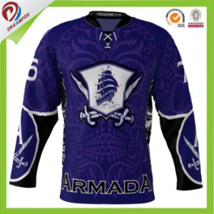 Polyester China Cheap Custom OEM Sublimation Ice Hockey Jersey Set pictures & photos