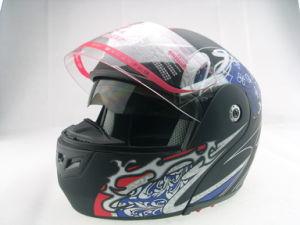 Flip up helmet with double visor