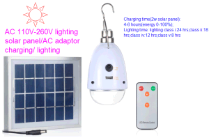 Solar Portable Lamp Bulb Lantern with 5 Lighting Class Control pictures & photos