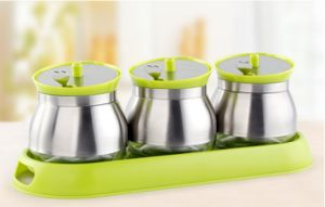steel and Glass 3-PCS Spice Jar Spice Rack Set (CS-054) pictures & photos