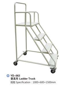 Steel Warehouse Truck Step Rolling Ladder with Wheels Yd-063 pictures & photos