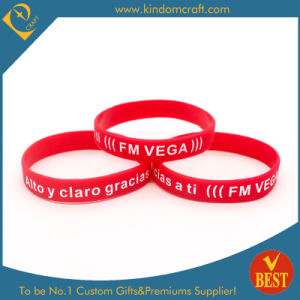 Custom Logo Color Infilled Rubber Wristband & Bracelet pictures & photos