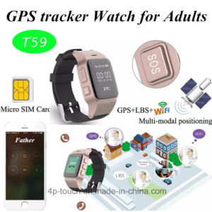 Anti Lost Sos Elderly GPS Tracker Watch Support SIM Card (T59) pictures & photos
